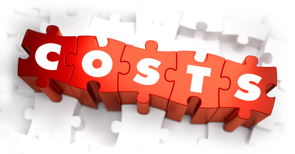 Costs- White Word on Red Puzzles on White Background. 3D Illustration.-1